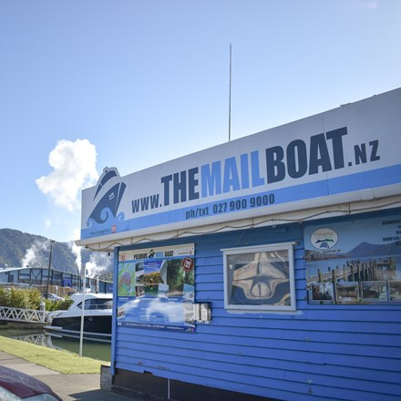 Our Pelorus Mail Boat office - waterfront at Havelock Marina.