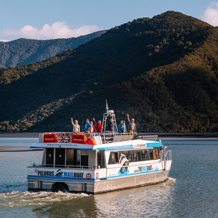 MV Pelorus Express, the vessel for our Pelorus Mail Boat cruises, cruising out of Havelock towards the Marlborough Sounds.