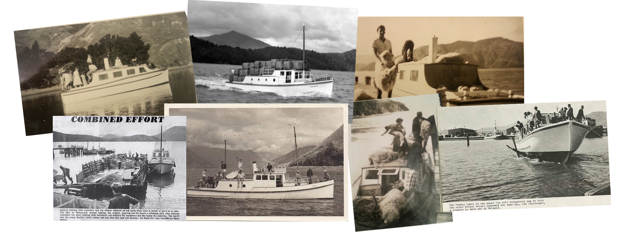 A collection historic images from Pelorus Mail Boat times past