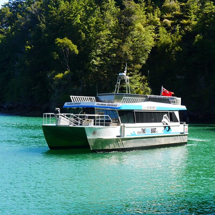Our Pelorus Mail Run Cruise in the beautiful blue/green waters of the Pelorus Sound/Te Hoiere with a bush backdrop.